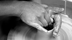 Hands (patrick_milan) Tags: mains hands noiretblanc blackandwhite noir blanc monochrome nb bw black white manual poterie pottery craft artisanat manuel
