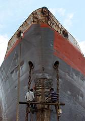 Keranigonj Dockyard Workers (Manzur Ahmed) Tags: keraniganj dockyard worker painting mend buriganga dhaka july 2016 outdoor blue sky nikon d7100 35mm