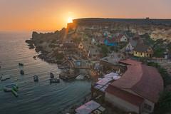 Popeye sunpop (barenstaden) Tags: popeye sunset malta seascape shore town village house cliff summer travel