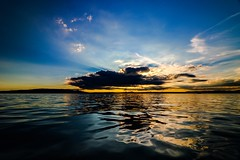 Save your best impressions carefully in your heart (yarin.asanth) Tags: spring cloud sun rays black clouds island mettnau radolfzell sundown sunset iznang moos underlake 2016 summer gerdkozik yarinasanth blue yellow colour calm silence surface water waves lakeconstance