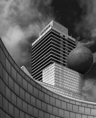 Building - Torre Mapfre ( Port Olympic - Barcelona) (Panasonic Lumix LX100 Compact) (BW) (markdbaynham) Tags: barcelona spain spainish city urban metropolis espana espanol port olympic building modern tall poblenou catalan panasonic dmclx100 lx100 compact lumix lumixer 2475mm f1728 zoom bw torre mapfre