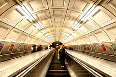 Sneaky Underground Shot (Pat Charles) Tags: unitedkingdom london england underground metro station tube travel transport tourism leadinglines perspective disappearingpoint arches architecture escalator stairs people movement nikon