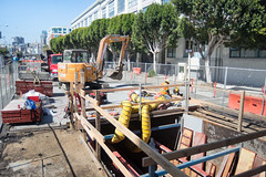 160914_1185_4thStSTS (Central Subway) Tags: 4thstreet 6014thst bluxomealley brannanstreet centralsubway muni sf sfmta sts sanfrancisco sanfranciscomunicipalrailway sanfranciscomunicipaltransportationagency soma tthirdline construction excavator extension lightrail miniexcavator phase2 project reconstruction reinforcing sewer southofmarket surfacetrackwork utilitywork