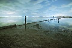HUELLA INERTE (alan.gargar) Tags: santapola night explore nightphotography sword sand salt clouds mirror reflection