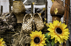 autumn Still Life (Lyutik966) Tags: lapti shoes autumn composition garlic spikelet pitcher clay fence harvest stilllife moscow russia
