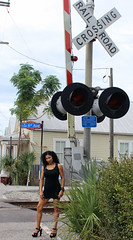 Enda at 6th Ave Crossing (California Will) Tags: edna model latina ybor city tampa fl florida blackdress beauty beautiful beaut hermosa railroad