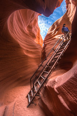 into the canyon (hand-held/HDR) (LB-fotos) Tags: 8mm fisheye leiter page usa lowerantelopecanyon lechee arizona us