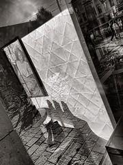 Shoe Shadow, Ghent, Belgium, 2016 (MJ_Conlon) Tags: street black white monochrome shop window reflection reflections shoe shoes shadows people ghent belgium gent belgique