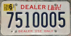 UTAH 2010 ---DEALER PLATE (woody1778a) Tags: usa american licenseplate numberplate registrationplate mycollection myhobby state unitedstates utah dealer