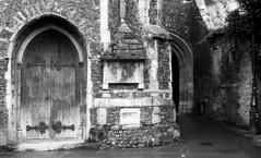 Rear of Church (D John Walker) Tags: church rear archway arch texture black white