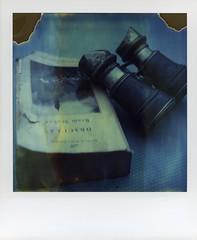 dracula (broaddaylight) Tags: timezero polaroid sx70 divot dracula binoculars film instantphotography expiredfilm