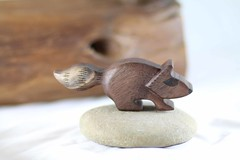 Raccoon in walnut wooden toy (kris10dale) Tags: wood rabbit bunny alpaca log poplar babies handmade waldorf walnut bee honey etsy hive raccoons woodentoy naturetable tworaccoonhollow
