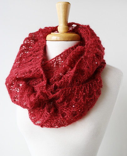 Genna Cowl with sequins, mohair and silk, hand-knit