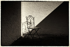 A Place in the Sun (Feldore) Tags: ireland shadow sunlight house wall corner garden chair backyard shadows terrace sony belfast elegant sunlit northern mchugh rx100 feldore