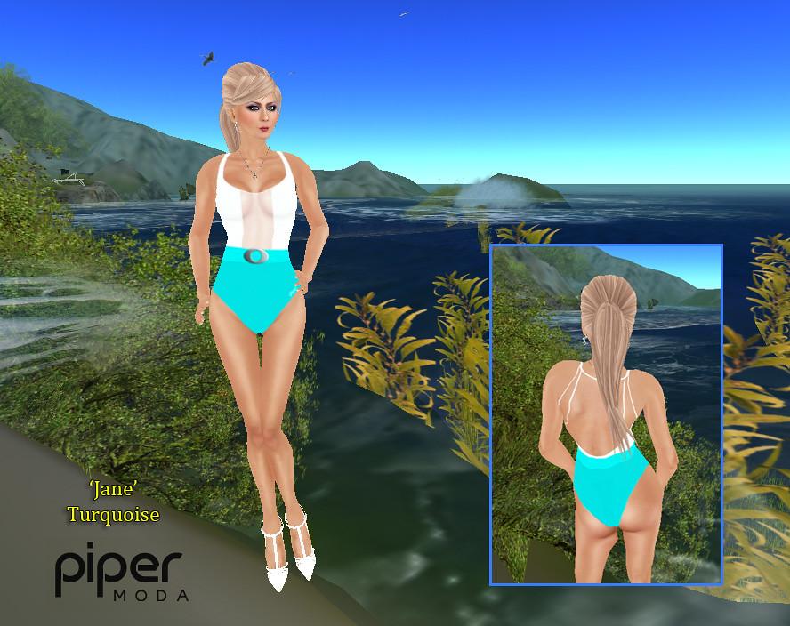 b2f0fc6946689 Piper Moda 'Jane' turquoise swimsuit (karenpiper_uk) Tags: fashion  secondlife swimsuit swimwear