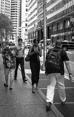 La era del mvil (OneMarie!) Tags: ny nyc wallstreet street calles ciudad city nikon d7100 bw bn blancoynegro people gente crowd girl woman mujer guys men hombres walking