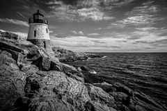 Castle Hill Light (Rodney Harvey) Tags: lighthouse castle hill rhode island bay granite rocks cliff ocean infrared seascape new england