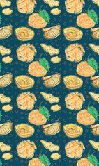 Orange pattern (minniemorrisart) Tags: oranges fruit pattern wallpaper artwork art drawing illustration design fashion textiles summer spring yum yummy draw slices peel greens artist