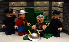 The Rival: Part 4 (Andrew Cookston) Tags: lego dc comics dccomics flash theflash jaygarrick therival dr doctor edward clariss bank keystone city robbery gangsters mob goldenage classic christo christo7108 moc photoshop custom minifig stilllife toy nikon macro photography andrewcookston