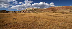 Fossil Quarries (arbyreed) Tags: arbyreed landscape panorama wideaspectratio clouds blueskywhiteclouds mountains hill butte fossilbutte geology colorfullayoring wyominggeology wyomingfossilquarries lincolncountywyoming
