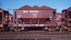 Great Northern Iron Ore Car 89446 at Kelly Lake, Minnesota 1953 (Twin Ports Rail History) Tags: twin ports rail history by jeff lemke time machine gn great northern iron ore car kelly lake minnesota mesabi range 1953
