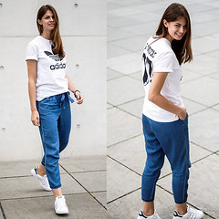 Denim Pants and Logo Tee by Jacky, 24 year old girl from Berlin, Germany (9lookbook.com) Tags: adidas berlin bfw blackandwhite blackbag blackdress blackstone bluesneakers bw cami camidress casual clothpants denim denimdress embroidered embroidery fashionblog fashionweek fitness fitstyle floral flowerdress greypants gucci jumpsuit lace laceup lacing leather leatherjacket logo lowcut matching maxidress mbfw mbfwb modeblog nakd office offshoulder offtheshoulder overall playsuit redsandals rockchic running set sporty stansmith streetstyle striped stripedshirt stripes summer summerdress superstars tee touchofcolour velcro vila waterfront whaelse whitesneakers