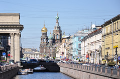 St. Petersburg (marin.tomic) Tags: russia russland stpetersburg sanktpetersburg canal church architecture city urban travel nikon d90 europe spring boat light sunny cathedral