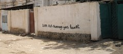 Sentence implacable ! (Pi-F) Tags: djibouti rue tag sentence car inscription coeur hearth dommage damage love amour