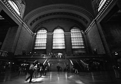 Grand Central Terminal (Sarah Marston) Tags: newyork grandcentralterminal people bw windows shadows reflection trainstation sony alpha a65 august 2016