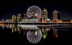 Geodesic Dome (Images by Christie  Happy Clicks for) Tags: falsecreek geodesic scienceworld expo86 vancouver bc canada nightphotography dome worldsfair