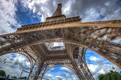 Paris (Bruno MATHIOT) Tags: paris france europe 10mm 1020mm sigma canon 760d hdr wideangle wide color couleur sky ciel bleu eiffel tour tower up haut iron outdoor