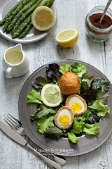 Scotch eggs (SeattleHVAC172) Tags: yellow vintage beautiful bright white green wood home food still life styling saucer glass kitchen lemon hot meat clear salad plate tasty table eggs rustic fork interesting decoration chicken lunch dinner cooking asparagus comfort spices wooden sauce feasting salty kitchenware boiled ready eat served foodstyling eegs miragegourmand sumah mushroom scotch dark wrapped with big creamy wide