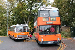 Preserved G M Buses 81 (HNE 641N), G M Buses South 4706 (A706 LNC) (SelmerOrSelnec) Tags: preserved gmbuses gmbusessouth leyland leopard ecw hne641n atlantean northerncounties a706lnc prestwich buryoldroad woodthorpehotel bigorange runningday gmts gmt museumoftransport bus coach