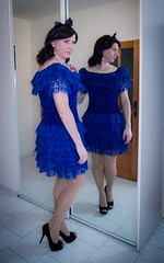 Feeling blue? (blackietv) Tags: blue lace frills dress stiletto heels mirror tgirl transvestite crossdresser crossdressing transgender
