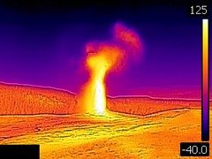 Thermal image of Old Faithful Geyser eruption (6:26 PM-onward, 10 August 2016) (James St. John) Tags: old faithful geyser group upper basin geysers yellowstone hotspot volcano wyoming hot spring springs erupt erupts erupting eruption eruptions thermal image temperature
