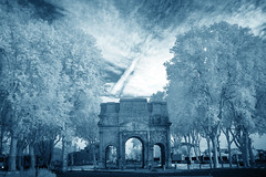 38/52 (2016): Blue Orange (Cyanotype) (Sean Hartwell Photography) Tags: orange provence france roman archway arcdetriumph ancient antiquity blue cyanotype infrared monochrome cyan trees fullspectrum ir canoneosm