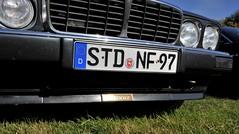 Up close: sunny Chasseur badge (Pim Stouten) Tags: arden british car auto wagen pkw vhicule macchina burgzelem chasseur stealth biturbo badge emblem embleem front skirt bumper stossstange xj xj6 xj40 jag jaguar saloon sedan grill grille