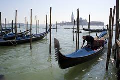 Gondolas, with island and church of San Giorgio Maggiore, Venice (Jim 592) Tags: venice italy grand canal sangiorgiomaggiore gondola
