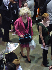 A Bad Her Day (Steve Taylor (Photography)) Tags: bag outfit wig blonde mask man lady woman women people newzealand nz southisland canterbury christchurch addington armageddon costume hat hair