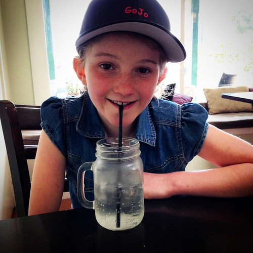 Grand Daughter having a lemonade @thecornerpostcafe #gojomediageoff #lemonade