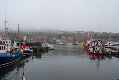 Boats moored at Whitby (Halliwell_Michael ## More off than on this week #) Tags: 2016 nikond40x northyorkshire whitby fog riveresk boats boat reflections reflection water waterfront mist seafret harbours coth
