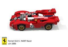 Ferrari 512 S - NART Racer s/n 1006 1970 (lego911) Tags: ferrari 512 s racer 1970 nart north american racing team 1970s classic v12 le mans auto car moc model miniland lego lego911 ldd render cad povray lugnuts challenge 108 lugnutsturnnine turns nine 18 attheraces races enzo 1006