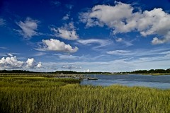 Battery Creek - Beaufort South Carolina (Meridith112) Tags: batterycreek creek beaufort beaufortcounty marsh water sky bluesky clouds cloud sc carolinas lowcountry southcarolina south nikon nikon2485 nikond610 2016 august summer grass seagrass cordgrass piers docks harborriver
