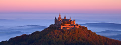 Hohenzollern castle (judith.kuhn) Tags: burg castle hohenzollern hechingen schwbischealb hgel hill sunrise sonnenaufgang nebel fog dawn morgenrot bume trees trme towers gebude building herbst fall