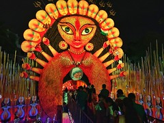 Durgapuja Celebration (arkamitra lahiricolour) Tags: india color colour colourful bengal bengali kolkata calcutta people streetphotography streetscene red durgapuja goddess durga durgapuja2016 celebration religion hinduism outdoor cellphonephotography motorola g4plus