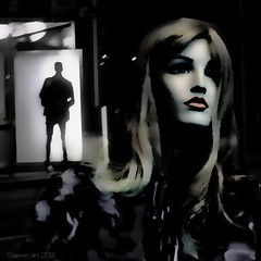 When there is nothing left to say (Lemon~art) Tags: mannequin woman man silhouette leaving parting manipulation filters inkwasheffect moody sad end relationship night dark