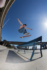 Scott Childs - FS Shuv (James MacGowan SJ) Tags: park plaza camera new canada station saint canon john bench scott lens rebel one james 1 photo skateboarding board flash wide over bank it brunswick nb fisheye skatepark skate skateboard 8mm childs ultra bump frontside fs shove macgowan f35 focal shuv t4i da2000 rokinon