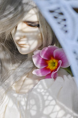 Dear Sunshine (Darcy 1813) Tags: pink flowers orange sun white man flower beautiful make up grass sunshine yellow umbrella silver ball garden hair outdoors photography husky doll long day dress lace ds makeup handsome sunny dreaming photograph parasol bjd sa dear nightgown jointed frill parasole dollshe