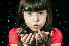 Starry Night (Kilkennycat) Tags: portrait girl glitter canon children stars happy child magic 50mm14 greeneyes freckles bangs magical 500d oneflash kilkennycat t1i ryanconners