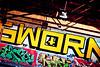 Sworn Yellow (Thomas Hawk) Tags: california usa america graffiti unitedstates unitedstatesofamerica eastbay alameda sworn